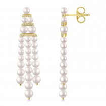 Diamond Accented Cultured Freshwater Pearl Dangle Earrings 14k Yellow Gold (0.26ct)