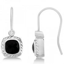 Diamond & Cushion Cut Black Onyx Dangle Earrings 14k White Gold (2.13ct)