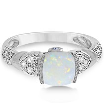 Tanzanite, Diamond and Opal Ring 14k White Gold (1.10ct)|escape