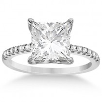 Princess Cut Moissanite & Diamond Engagement Ring 14K W. Gold (3.17ct)