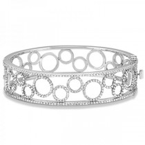 Luxury Diamond Bangle Bridal Bracelet 14k White Gold (6.88ct)