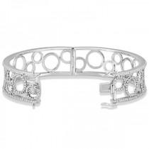 Luxury Diamond Bangle Bridal Bracelet 14k White Gold (6.88ct)