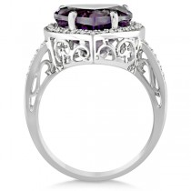 Heart Shaped Amethyst & Diamond Ring Halo 14K White Gold 5.41ct|escape
