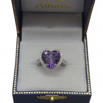 Heart Shaped Amethyst & Diamond Ring Halo 14K White Gold 5.41ct