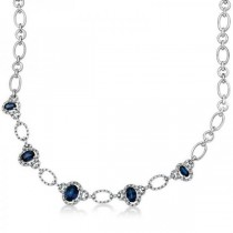 Diamond Oval Blue Sapphire Chain Necklace 14k White Gold (3.65ct)