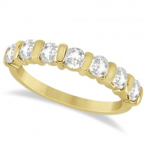 Bar Set 7 Stone Moissanite Ring Anniversary Band 14K Y. Gold 0.75ctw