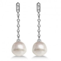 Paspaley Cultured South Sea Pearl & Diamond Earrings 14K W. Gold (11mm)