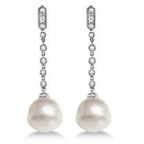 Paspaley Cultured South Sea Pearl & Diamond Earrings 14K W. Gold (11mm)
