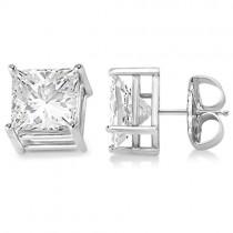 4 Prong Moissanite Square Shape Stud Earrings 14K White Gold 0.75ctw