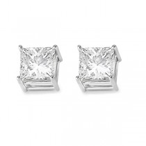 4 Prong Moissanite Square Shape Stud Earrings 14K White Gold 0.75ctw