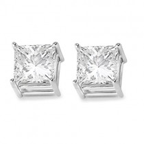 4 Prong Moissanite Square Shape Stud Earrings 14K White Gold 1.50ctw|escape