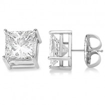 4 Prong Moissanite Square Shape Stud Earrings 14K White Gold 2.50ctw