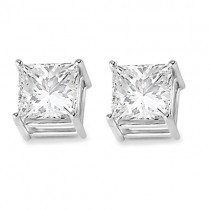 4 Prong Moissanite Square Shape Stud Earrings 14K White Gold 2.50ctw|escape