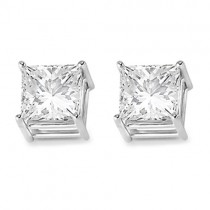 4 Prong Moissanite Square Shape Stud Earrings14K White Gold 4.00ctw