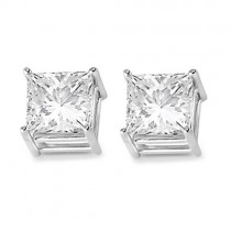 4 Prong Moissanite Square Shape Stud Earrings 14K White Gold 6.00ctw
