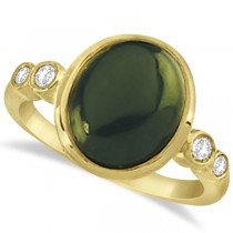 Nephrite Jade Fashion Ring with Diamond Accents 14k Yellow Gold 0.17ct