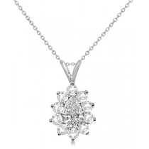 Pear Cut Moissanite Halo Pendant Necklace 14K White Gold 1.50ctw