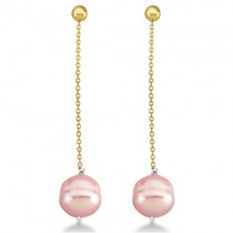 Pink Freshwater Cultured Circle' Pearl Earrings 14K Yellow Gold (9-11mm)