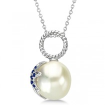 South Sea Pearl Pendant w/Sapphire Accented Starfish  14K White Gold 0.25cw