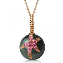 Tahitian Cultured Pearl Starfish Pendant w/ Pink Sapphires 14k Rose G.