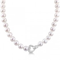 Freshwater Pearl Necklace w/Diamond Heart Sterling Silver 10-11mm