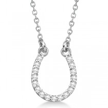 Diamond Horseshoe Pendant Necklace 14k White Gold 0.10ct