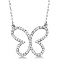 Diamond Butterfly Shaped Pendant Necklace 14k White Gold 0.33ct