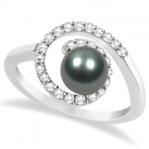 Akoya Cultured Black Pearl Ring with Diamonds 14K White Gold 0.25ct