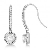 Moissanite & Diamond Halo Earrings w/ Fish Hooks 14K White Gold 1.73ctw