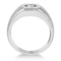 Men's Moissanite Wedding Ring Carved Band 14K White Gold 0.25ctw