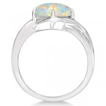 Diamond Accented Opal Fashion Ring in 14k White Gold (1.37ct)