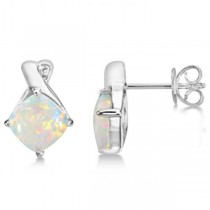 Diamond & Cushion Opal Drop Earrings 14k White Gold (2.70ct)