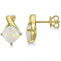 Diamond & Cushion Opal Drop Earrings 14k Yellow Gold (2.70ct)