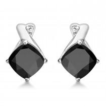 Diamond & Cushion Black Onyx Drop Earrings 14k White Gold (2.70ct)