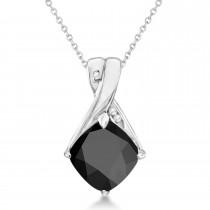 Diamond and Cushion Black Onyx Pendant Necklace 14k White Gold (1.36ct)
