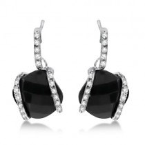 Cushion Cut Black Onyx Earrings with Diamonds 14K White Gold 3.25ct