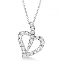 Moissanite Heart Necklace with Matching Chain 14K White Gold 0.75ctw