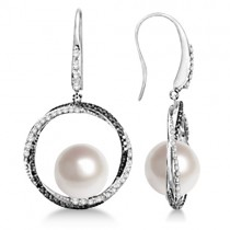 White & Black Diamond Paspaley Cultured South Sea Pearl Earrings (11mm)