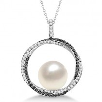 South Sea Pearl Pendant w/ White & Black Diamonds 14K W. Gold (12mm)