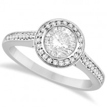 Bezel Set Moissanite & Diamond Halo Engagement Ring 14K W. Gold 1.01ctw
