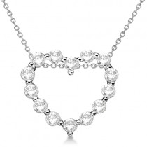 Moissanite Open Heart Pendant Necklace 14K White Gold 0.88ctw