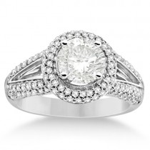Faceted Moissanite & Diamond Halo Engagement Ring 14K W. Gold 2.00ctw