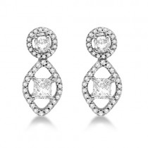 Moissanite & Diamond Halo Dangle Earrings 14K White Gold 0.57ctw