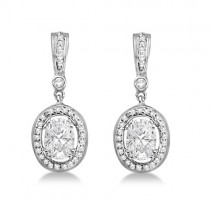 Oval Shaped Moissanite & Round Diamond Earrings 14K White Gold 1.97ctw