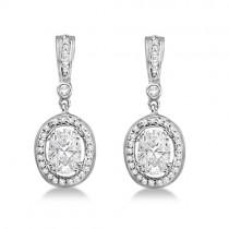 Oval Shaped Moissanite & Round Diamond Earrings 14K White Gold 1.97ctw|escape