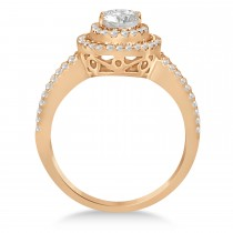 Double Halo Diamond & Moissanite Engagement Ring 14K Rose Gold 1.34ctw