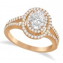 Double Halo Diamond & Moissanite Engagement Ring 14K Rose Gold 1.34ctw