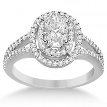 Double Halo Diamond & Moissanite Engagement Ring 14K White Gold 1.34ctw|escape