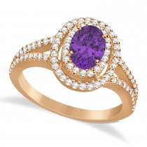 Double Halo Diamond & Amethyst Engagement Ring 14K Rose Gold 1.34ctw