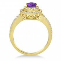 Double Halo Diamond & Amethyst Engagement Ring 14K Yellow Gold 1.34ctw